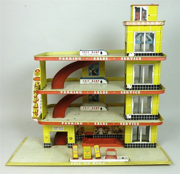 Shell Garages: A Shell Tinplate Garage, Three Tier, Mettoy Skypark