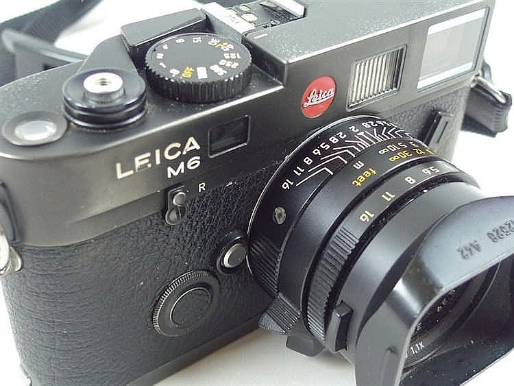 A Leica M6 Camera, black body, number 2549184, complete with