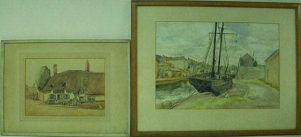 George Bain: a watercolour of a dock with a two