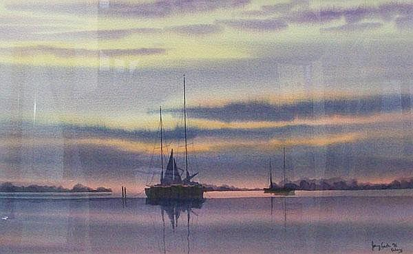 Johnny Gaston (b.1955): watercolour of Sunset over