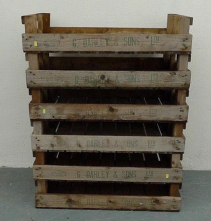 Six apple crates, all printed in green ink with G