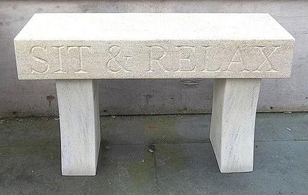 A hand carved Clipsham limestone garden seat, 'Sit