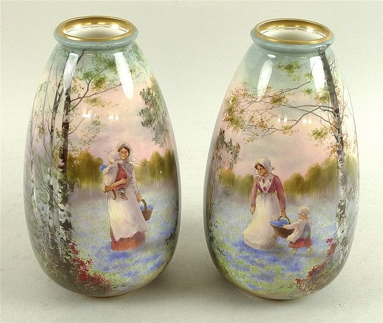 A Pair Of Royal Doulton Vases Painted By Harry Allen Of Lob