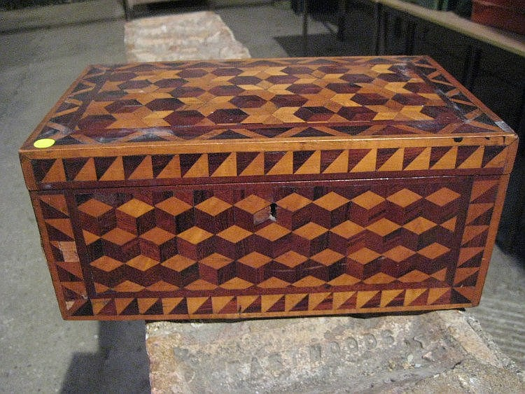 A Victorian parquetry wooden box.