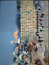Oil on panel, the western wall, signed