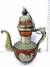Decorative pitcher, copper and other metals, China