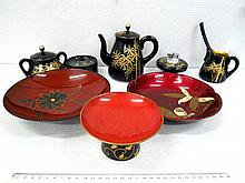 Japanese lacquer implements, including: pot, small