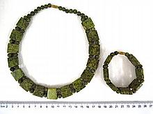 Bracelet and necklace, natural green stone