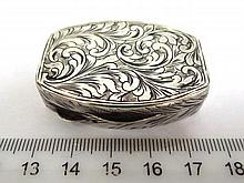 Silver 800 tobacco box, with engraved lid