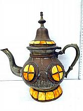 Decorative Moroccan jug, metal, yellow stone