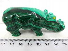 Malachite figurine of a hippopotamus