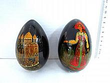 Two Russian ornamental easter eggs, lacquer work