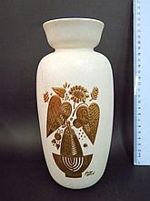 Ceramic vase, by Hyallyn, USA, with embossment