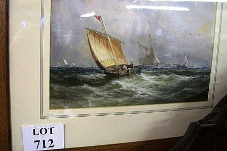 A framed and glazed watercolour of old sailing