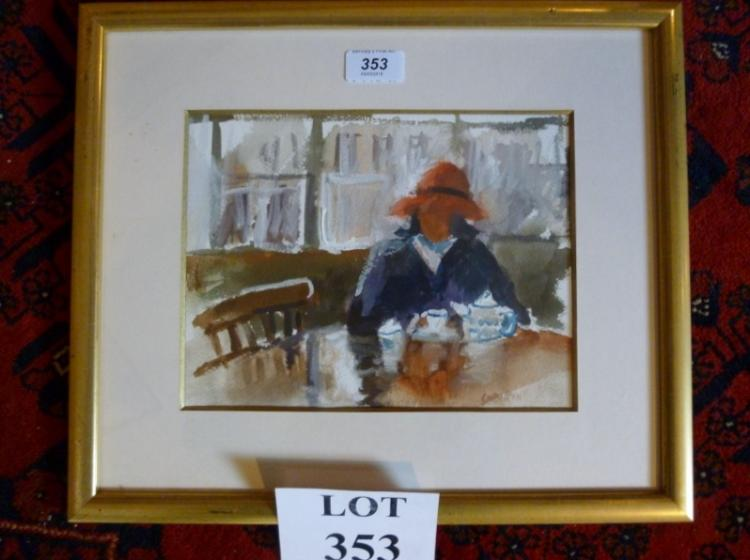 Gary Bunt (1957-) A framed and glazed watercolour girl in a teashop signed lower right (19 x 25 cm approx) est: £50-£80