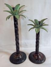 Pair Of Metal Decorative Palm Tree Candle Holders