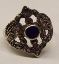 Sterling Silver, Marcasite & Blue Lapis Ring