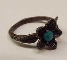 Sterling Silver Floral Ring With Turquoise