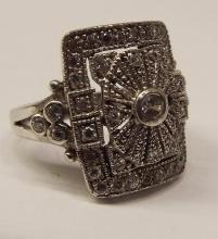 Sterling Silver Ring With Clear Stones