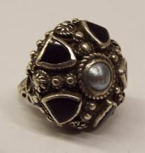Sterling Ring With Black Onyx & Mother Of Pearl