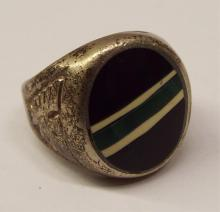 Sterling Silver And Inlaid Ring