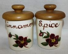 Pair Of Hand Decorated California Spice Jars