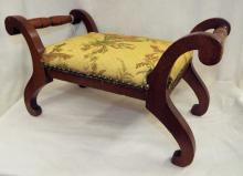 Cherry Footstool With Italian Upholstery