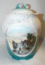 Hand Painted Windmill Scene Covered Jar