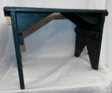 Primitive Stool In Green Paint
