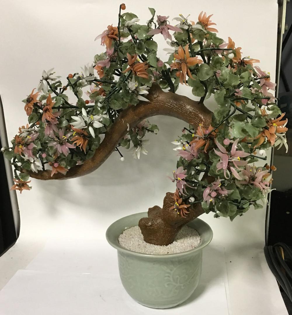 Large Oriental Hardstone Jade Tree In Celadon Pot