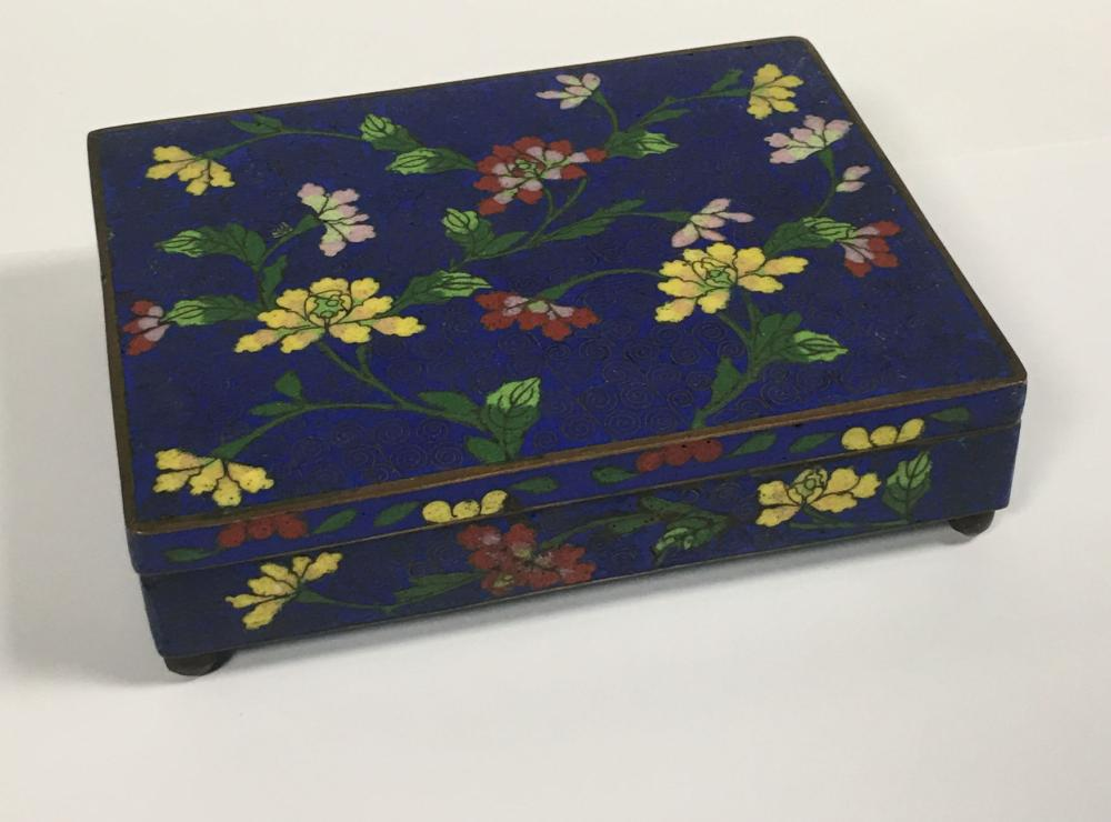 Oriental Floral Cloisonne Hinged Lid Box