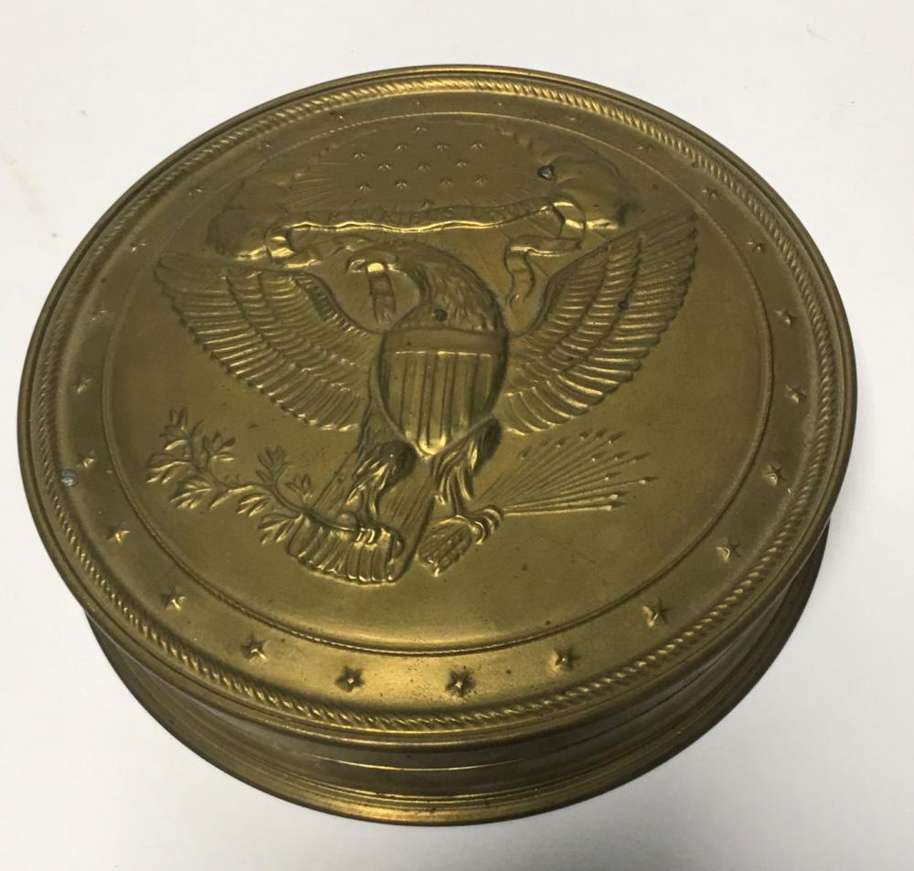 Mma Brass Old Treaty Seal Silver Gilt Skippet Box