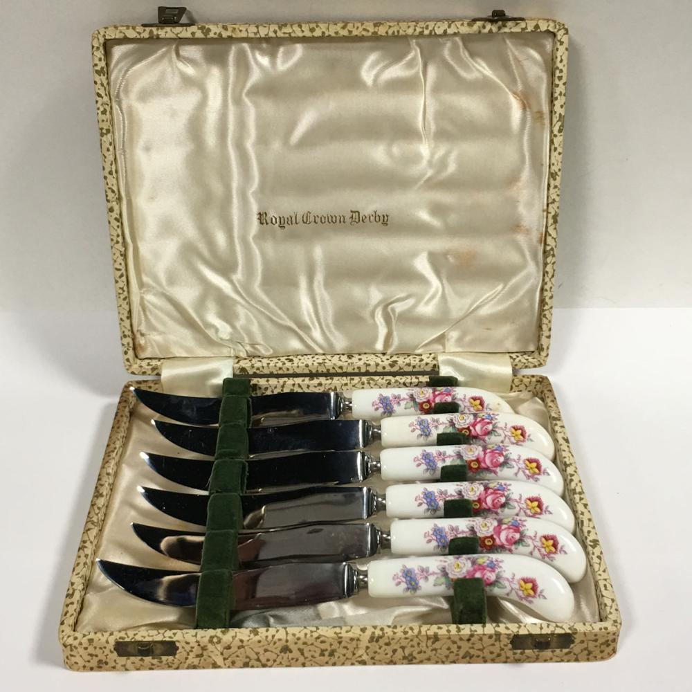 Royal Crown Derby Set Of 6 Knives In Fitted Case