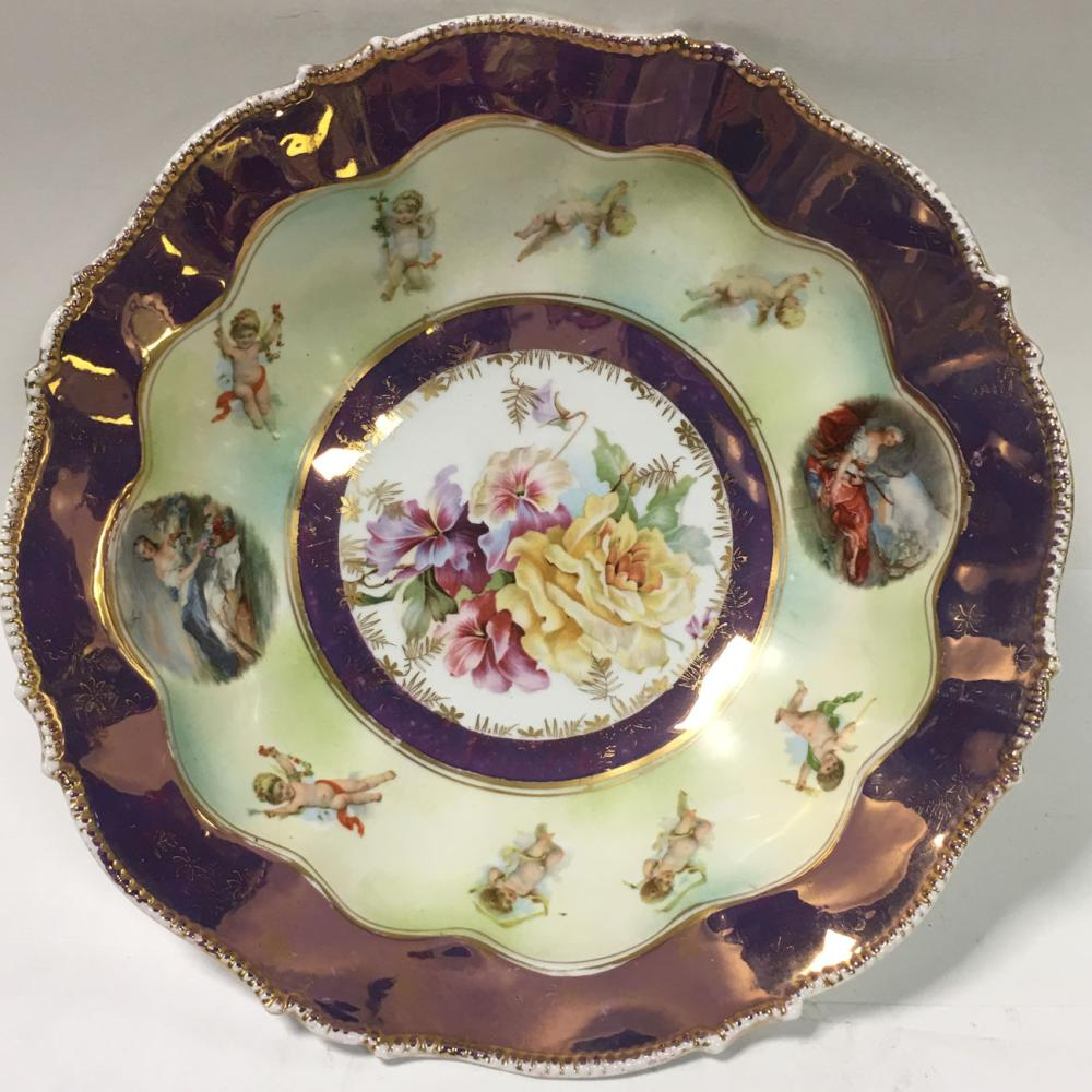 Porcelain Cherub Scene Bowl