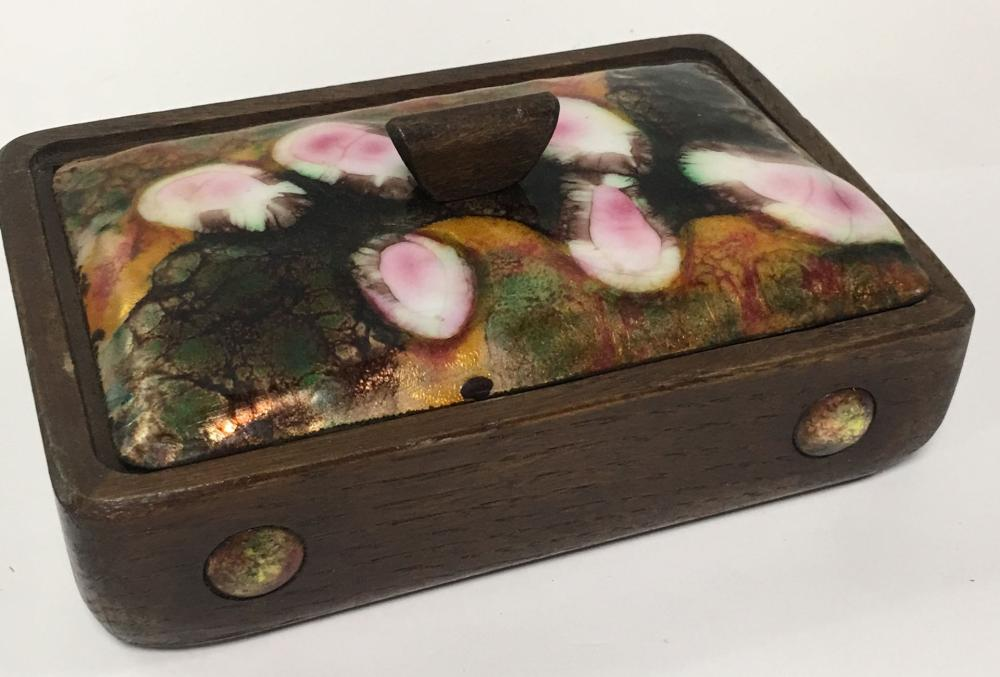 Wooden Box With Enameled Lid