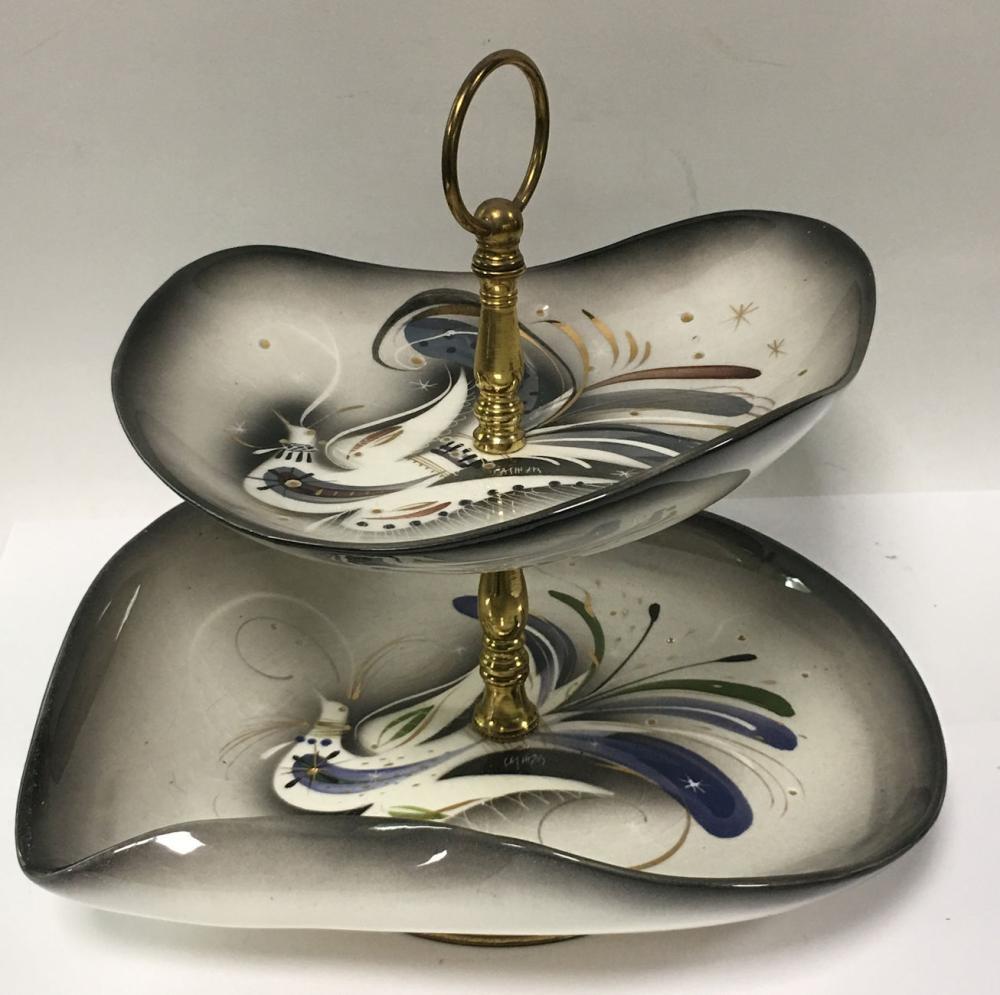 Brass And Ceramic Signed 2 Tier Tidbit