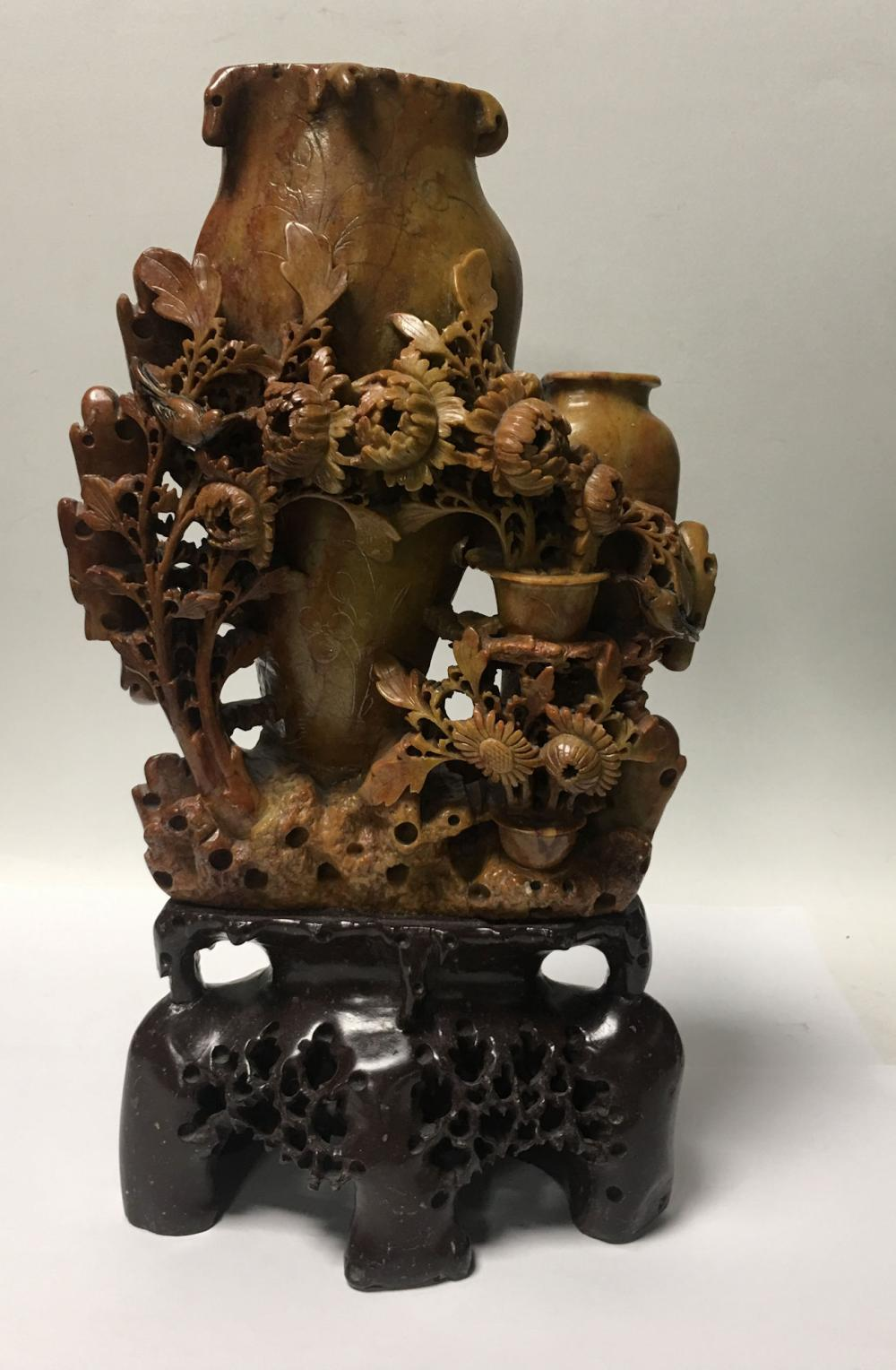 Oriental Hardstone Carved Double Vase