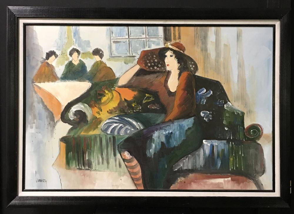 Signed Burnet Oil On Canvas Interior Scene