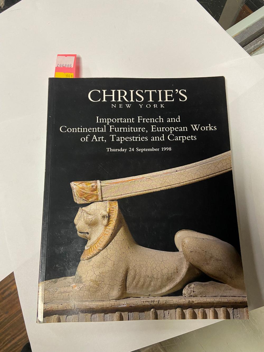Christies New York: Thursday 24 September 1998