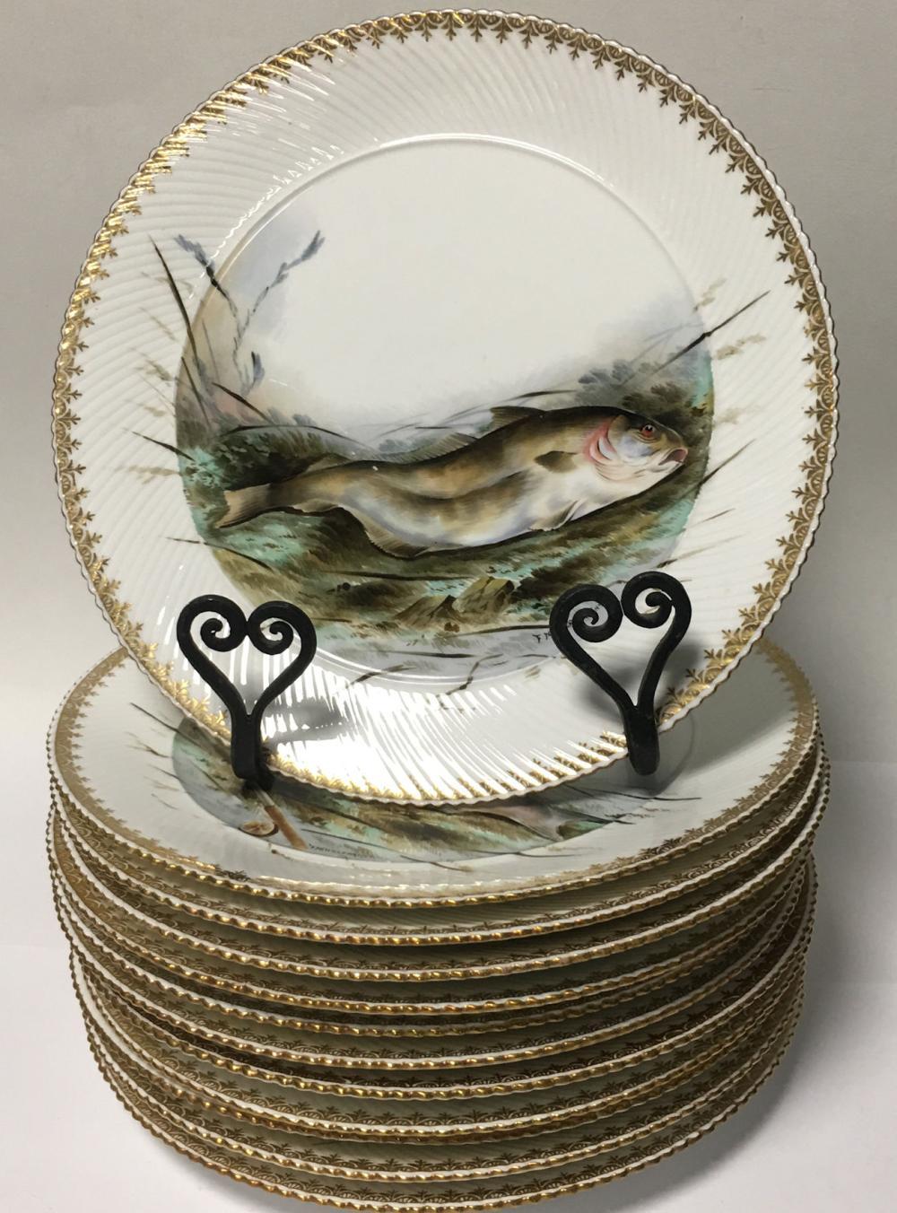 Set Of 12 Burslem Signed Hand Painted Fish Plates