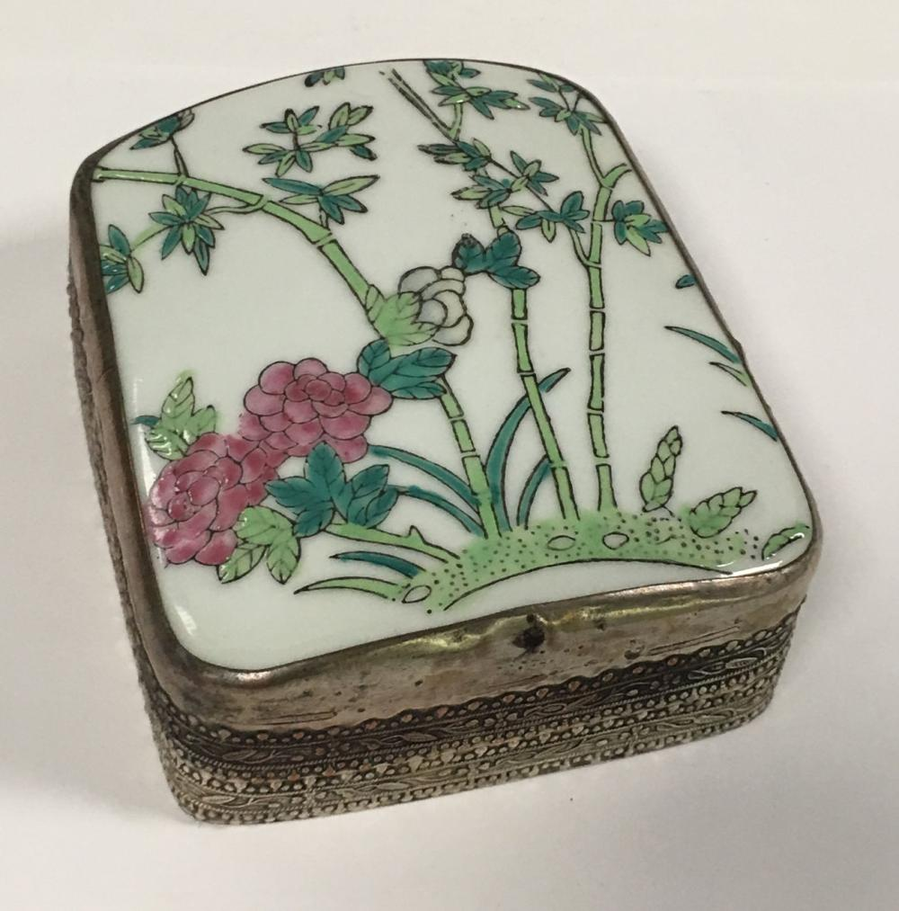 Oriental Covered Jar, Hand Painted Porcelain Lid