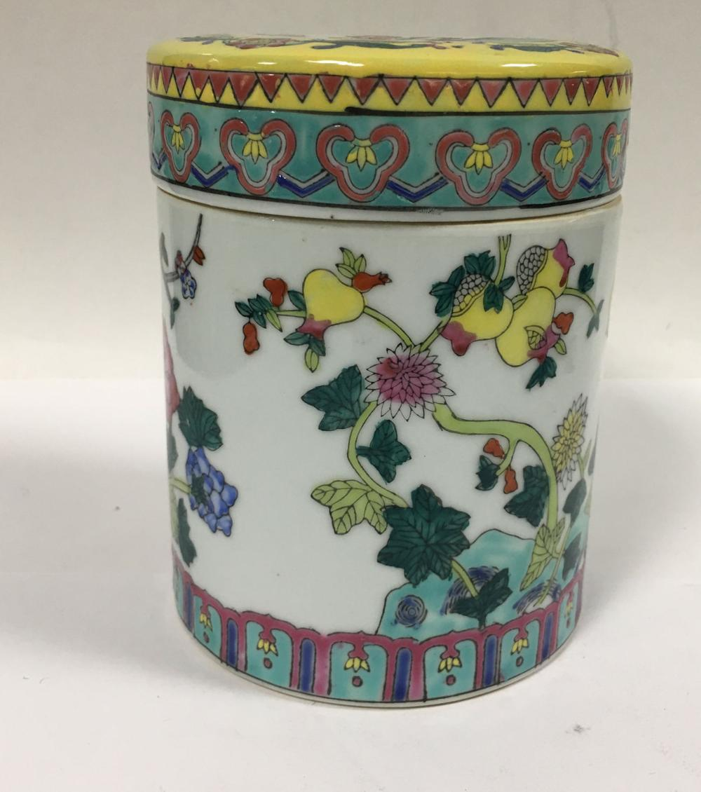 Oriental Porcelain Hand Painted Covered Jar
