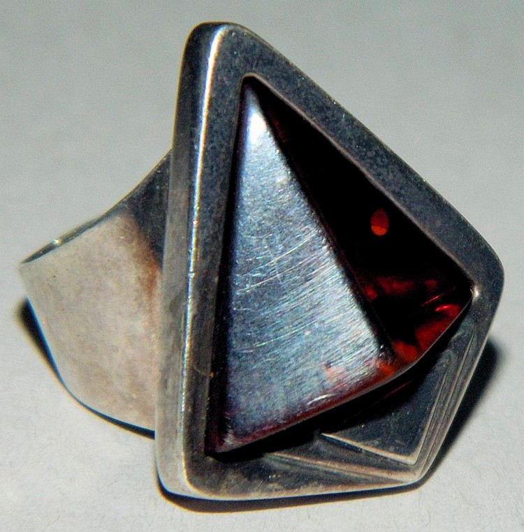Sterling silver ring with brown stone