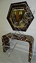 Attr. Karl Springer horn inlay console and mirror