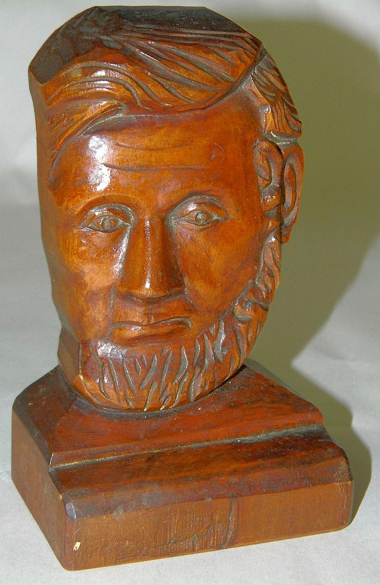 LE Ashbrook Carved Head Bust of Abraham Lincoln