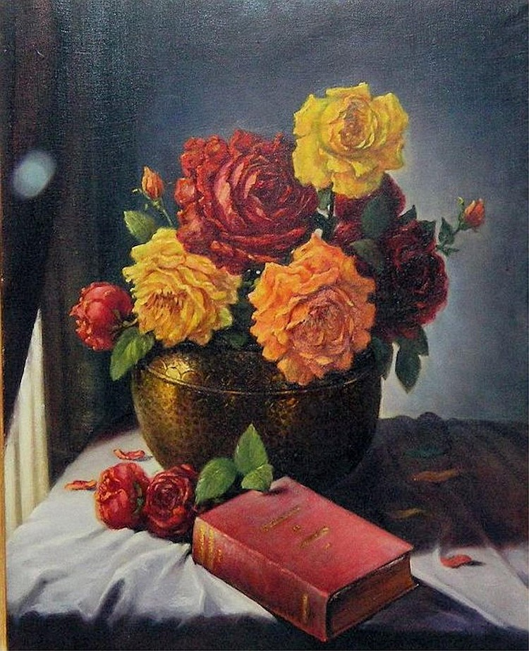 Oil on canvas still life, flowers and bible