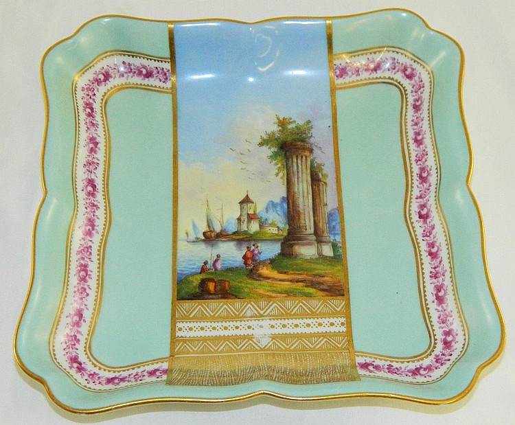 Victorian Hand Painted Scenic Deep Serving Bowl