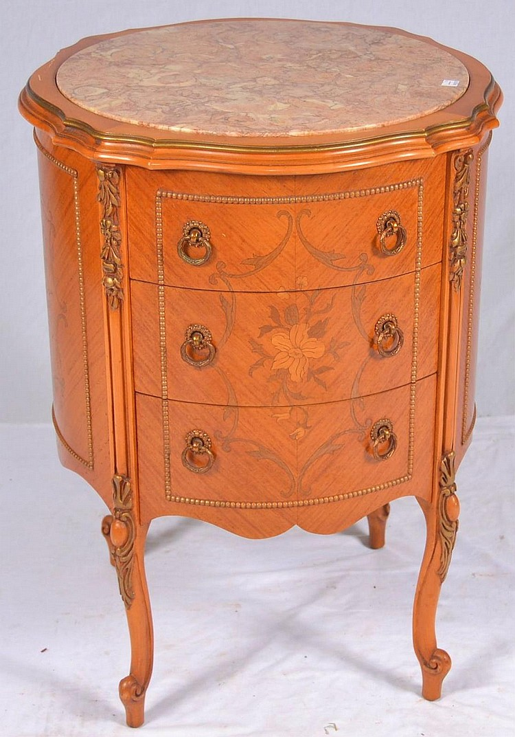 Marble Top 3 Drawer Side Table w Floral Inlay