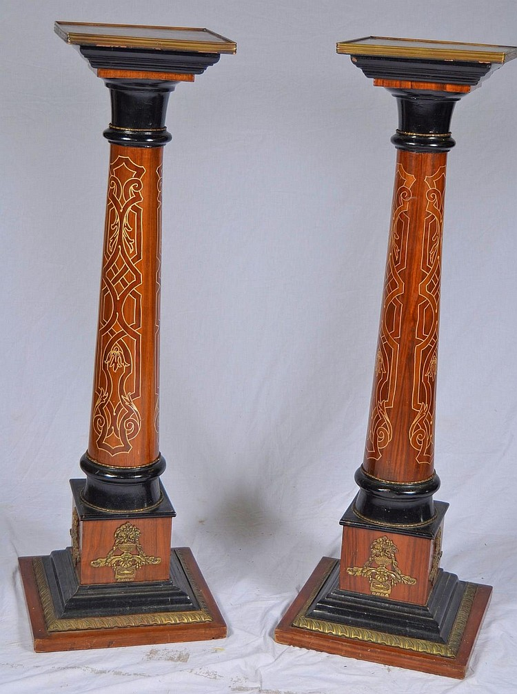 Pair of wood and brass decorated fern stands