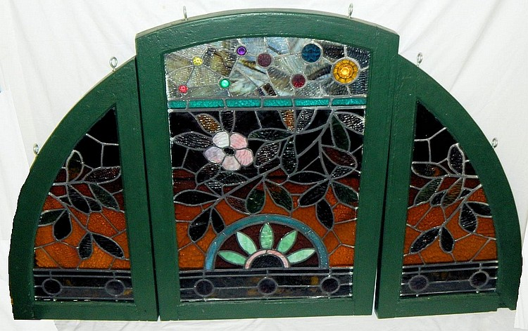 3 piece leaded glass window set